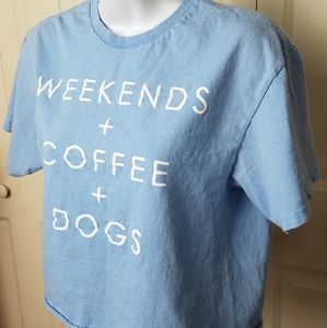 Weekend, coffee and dogs cropped tee